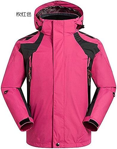 DYF Manteau Hommes Veste de Ski Bas Fermeture éclair Manches Longues Chapeau Chaud épaissi,Rose,Rouge M