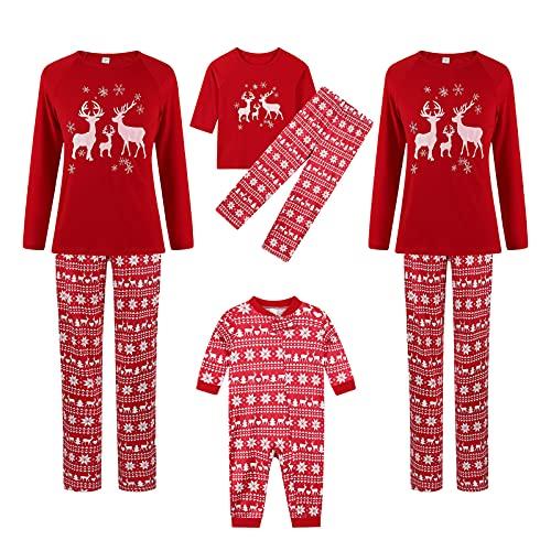 Christmas Pyjama Set Merry Bedruckt Rentier Elch Familie Weihnachten Passende Outfits Lange Ärmel Nachtwäsche Schlafanzughose Pulli Schlafanzüge Baby Strampler Sweatshirt Homewear 2Pcs Eltern Kind