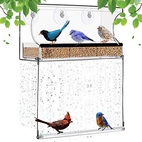 Comedero para Pájaros De Ventana Acrílica para Exteriores, Grand Bandeja Transparente Extraíble, Kits De Casita para Pájaros con Orificios De Drenaje Y Oscilación para Pájaros