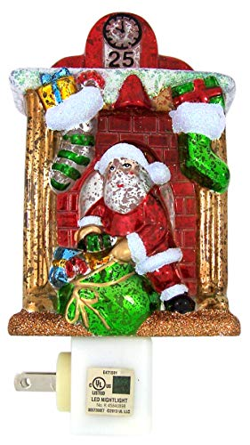 Santa Claus in a Fireplace Christmas Night Light, 6 1/2 Inch