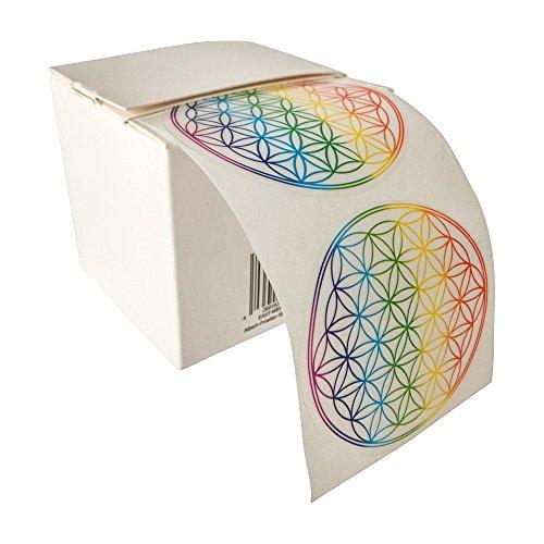 Blume des Lebens, Aufkleber, Regenbogenfarbe, 50 Stück