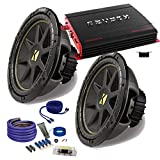 Kicker 2 12' Comp Subwoofers and a Crunch PX2000.1D 2000 Watt Max Amp + Amp wire kit Package