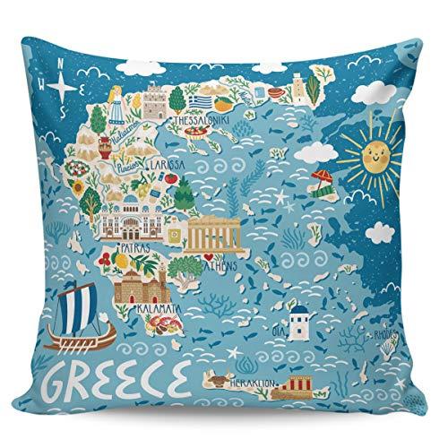 Scrummy Fundas de almohada de 66 x 66 cm, diseño de mapa histórico de Grecia, para decoración del hogar