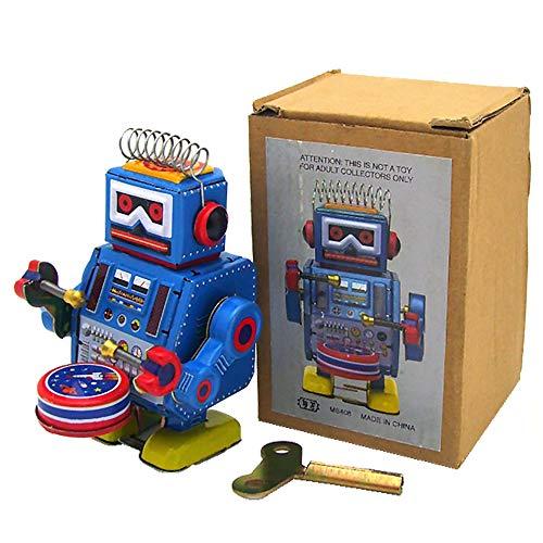 PYXEL STUDIO Ms408 Robot Drummer Retro Wind Up Tin Toy Clockwork Collection Cadeau