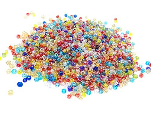 La Boutique de Karine - Lote de 1000 perlas de rocalla agujereadas, tonos multicolor, diámetro 2 mm