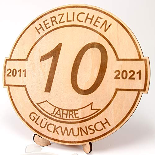 """KASA - Geschenk zum 10 Geburtstag, Jubiläum, Jahrestag - gravierte Holzscheibe 30 cm Herzlichen Glückwunsch """"2011-2021"""""""