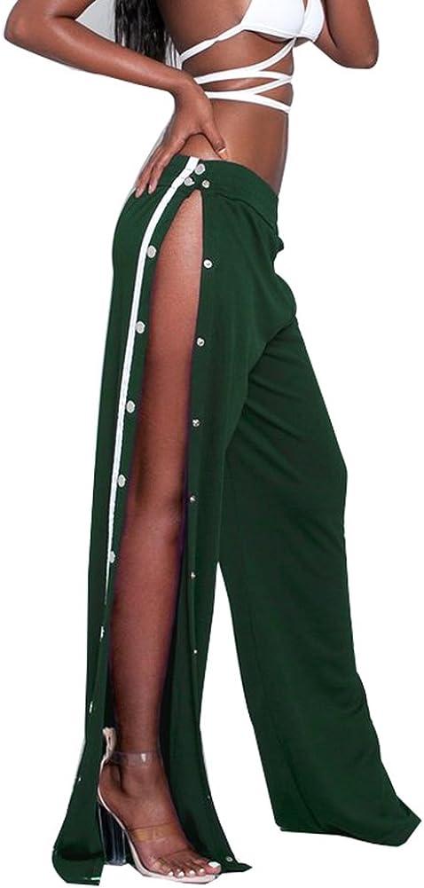 GUOLEZEEV Women High Slit Side Wide Leg Pants with Elastic Waist Track Trousers