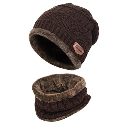 VBIGER Kids Winter Hat and Scarf Set Warm Knit Beanie Cap and Circle Scarf with Fleece Lining for Children Boys Girls, 2-Pieces