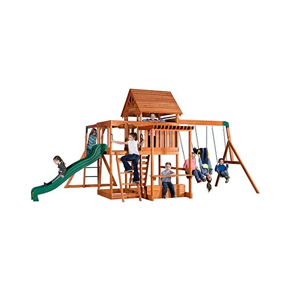 Backyard Discovery Monticello All Cedar Wood Playset Swing Set