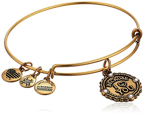 Alex and Ani Womens Because I Love You Charm Bangle Bracelet, Rafaelian Gold, Expandable