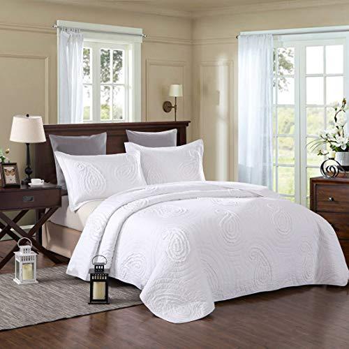 Teyun. Dreiteilige Bett aus Reiner Baumwolle farbige Hand-Cut Quilting (Color : White)