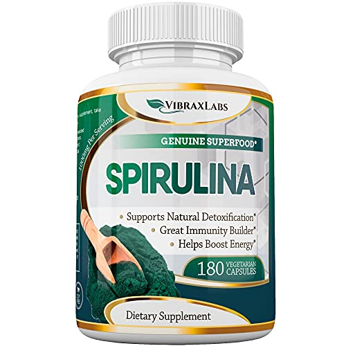 Spirulina Capsules – 100% Pure 1000mg Serving ( 500mg Veggie Capsules ) Powder Supplement, Supports Natural Detoxification, Benefits Health on a Cellular Level, Best with Chlorella, 3 Month Supply