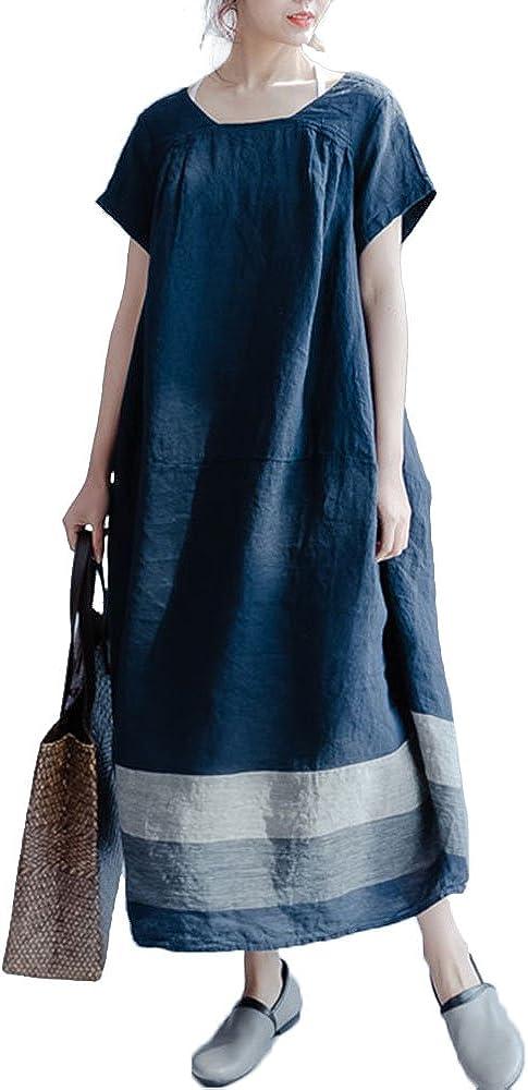 Celmia Women's Casual Short Sleeve Cotton Patchwork Colorblock Baggy Long Dress