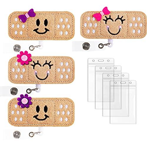Nurse Badge Reel Holder, Retractable Nurse Badge Holder Reel Clip Bandage Badge Reel Felt Badge Clip with ID Card Holder for Nurses and Doctors (Emoticons, 4 Pieces)