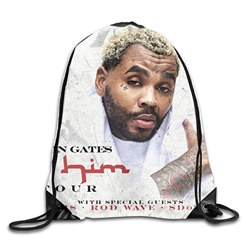 JHUIK Drawstring Bag Backpack,Kevin Gates Mode Sac à Dos Design épaule Sac à Cordon Homme Femme Sacs Blanc Taille Unique
