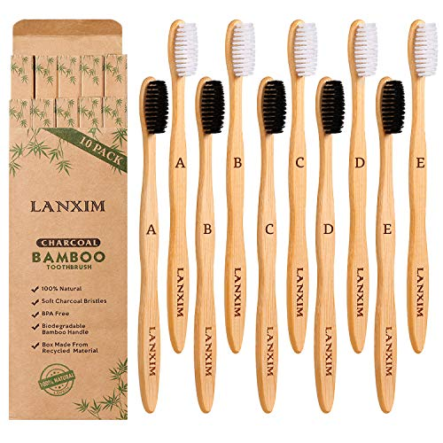 10 Pack Natural Biodegradable Bamboo Toothbrushes BPAFree EcoFriendly Soft Bristles Charcoal Toothbrushes Black/White