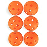 Crown Sporting Goods 6-Pack of 12-inch Plastic Softballs – Perforated Practice Balls for Sports Training (Orange)
