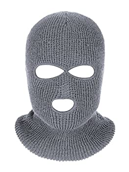 SATINIOR 3-Holes Full Face Cover Outdoor Balaclava Knitted Neck Gaiter for Sports Cycling  Pure Gray Medium