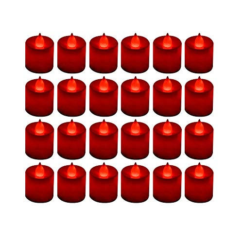LANKER 24 Pack Flameless Led Tea Lights Candles - Flickering Battery Operated Electronic Fake Candles – Decorations for Wedding, Party, Christmas, Halloween (Red)