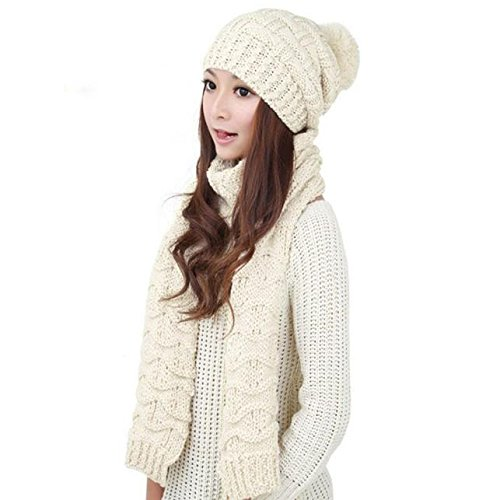 CapsA Knit Hats for Women Men Winter Hats pom pom Slouchy Beanie hat Real Fur Knit Hats ski Cap Warm Woolen Knit Hood Scarf Shawl Caps Hats Suit