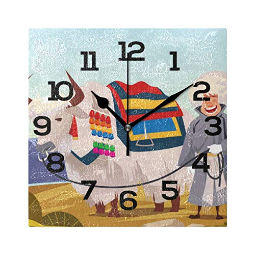 AMONKA, Orologio da Parete Quadrato da Uomo con Yak, Silenzioso, in Acrilico, per Decorare casa, Soggiorno, Camera da Letto, Cucina, Scuola e Ufficio