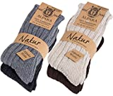 BRUBAKER 4 Pairs Thick Alpaca Winter Socks 100% Alpaca Color Mix EU 39-42 / US 6.5-8
