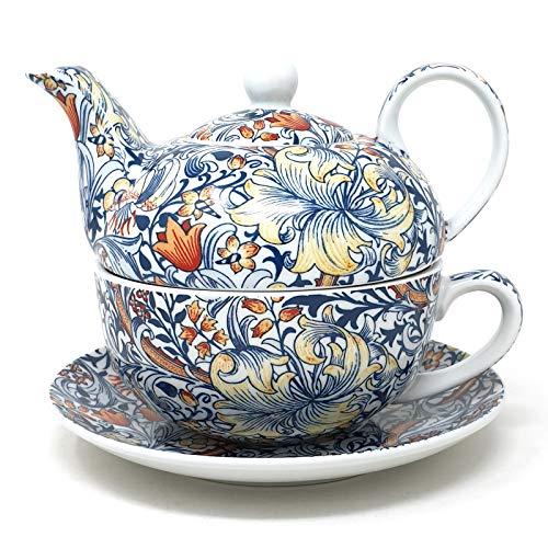 Lesser & Pavey LP93532 Set da tè per una persona, porcellana raffinata con motivo decorativo con giglio dorato William Morris, 16 x 16 x 13 cm