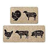 Atoid Mode Turkey Goat Chicken Cow Pig Decorative Kitchen Mats Set of 2, Farmhouse Seasonal Holiday Party Low-Profile Floor Mat for Home Kitchen - 17x29 and 17x47 Inch