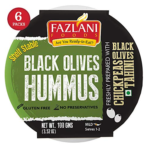Fazlani Foods - Shelf Stable - Ready to Serve (6-Pack) – Black Olives Hummus – 3.52oz Preservative Free & Gluten Free
