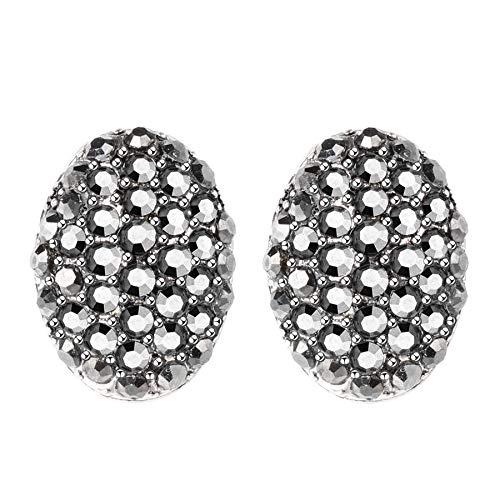Vintage negro cristal Stud pendientes para las mujeres plata antigua ovalada retro pendiente moda Bohemia declaración joyería