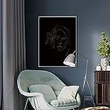 Cuadro en lienzo mural minimalista dibujo en línea abstracto en blanco y negro dibujo de cara de mujer estampado floral simple decoración de póster sin marco Z55 60x80cm