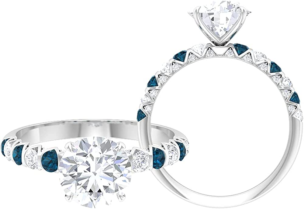 2.75 CT Moissanite Solitaire Engagement Ring with London Blue Topaz (D-VSSI Quality),14K White Gold,London Blue Topaz,Size:US 7.50