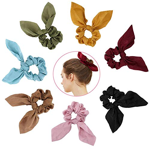 Atpot 7 Pack Hair Elastics Bow Scrunchies,Bunny Ear Chiffon Satin Silk Elastic Soft Hair Bands Scarf Ponytail Holder Scrunchy Ties Vintage Accessories Ropes for Girls Women -7 Colors