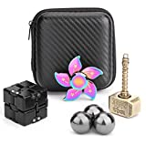 Handheld Mini Fidget Toy Set Fidget Flippy Chain,Infinity Cube,Fidget Cube,Fidget Hammer Spinner Stress and Anxiety Relief Stuffer Gift for Teen Kids Adults with EDC ADHD Autism(4 Pack)