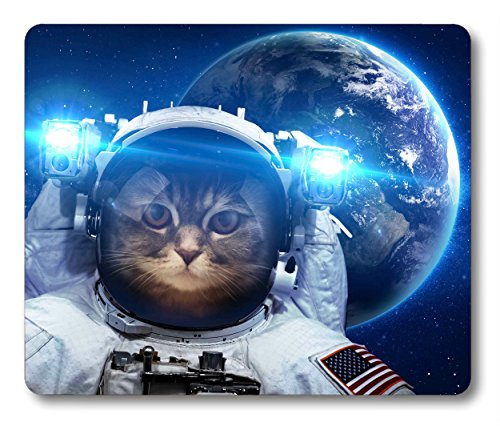 Smooffy Non Slip Mouse Pad for Office,Astronaut Cat Nebula Galaxy Outer Space Mouse Pad