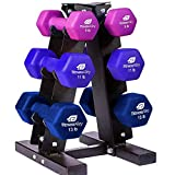 Fitness Alley Neoprene Dumbbells A Frame Rack - Free Weights Hex Hand Weights - Gym Exercise 3 Pairs Set (9lb, 11lb & 13lb) with 3 Tier Rack