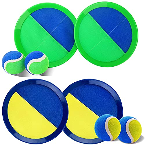 Ball Catch Set Game Toss Paddle - Beach Toys Back Yard Outdoor Games Lawn Backyard Target Throw Catch Sticky Set Age 3 4 5 6 7 8 9 10 11 12 Years Old Boys Girls Kids Easter Gifts Green Blue 2 Pack