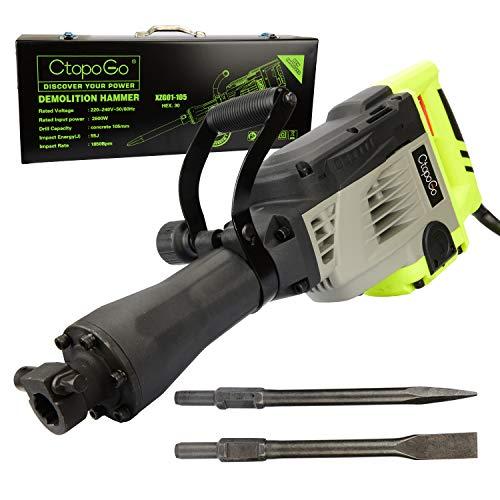 2600W Abbruchhammer Hochleistungs-Elektroabbruchhammer-Betonbrecher-Elektrowerkzeug-Set mit langlebigem Metallgehäuse, inkl. 2 Meißel und Koffer