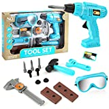 GRASARY 14Pcs / Set Kids Power Drill Toy Kit Play Tools Accesorios con Martillo Goggles Caliper para Niños Pequeños, Child Intellectual Toy Gift Set Azul