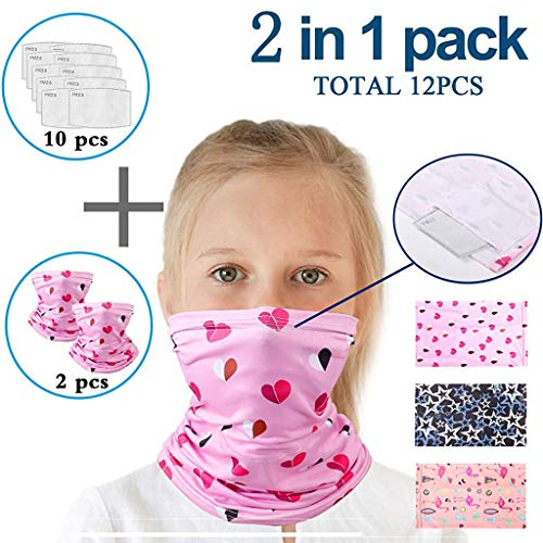 Lomelomme 2 Stück Multifunktionstuch mit 10 Stück Aktivkohlefilter Kinder Kopftuch Sport-Halstuch Bandana Mundschutz Schlauchtuch Halstücher für Jungen und Mädchen (E)