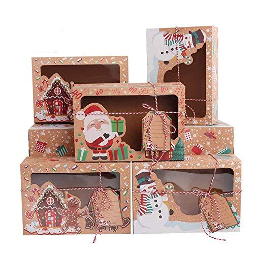 youmore 12pcs Caja de Navidad Papel Kraft Ventana Caja de Cupcakes Caja de Papel Pequeño de Dulces Galleta Pastel para Regalo Navideño (Multicolor)