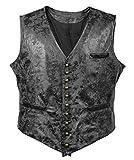 Bslingerie Mens Steampunk Faux Leather Cowboy Waist Coat Vest (XL, Black Vest)