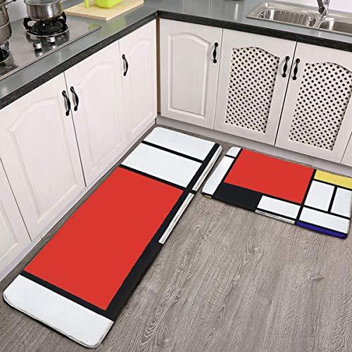 Mondrian - Juego de 2 alfombras de cocina antideslizantes y alfombras de cocina de franela suave antideslizante alfombra lavable duradera