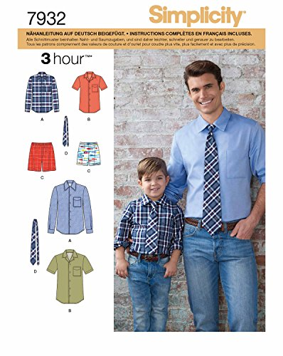 Simplicity 7932.A Schnittmuster Outfit mit Hemd, Hose und Kravatte (Herren & Jungen, Gr. S - XL)