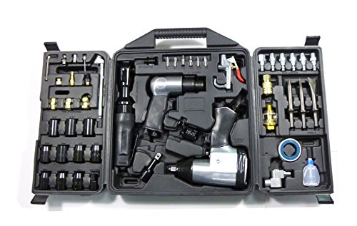DP Dynamic Power 50 Piece Air Tool Kit. 1-1/2'' Impact Wrench, 1-3/8'' Ratchet Wrench, 5-Air Hammer w/Chisels, and other great tools. D-W3-50K