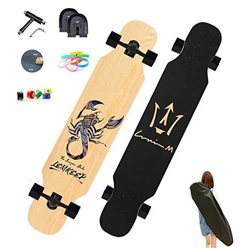 WRISCG Longboard Komplettboard Skateboard, 127×25 Longboard Cruiser, High Speed ABEC Kugellagern, Beginner Longboard Drop Down Downhill Komplettboard, Longboards für Jugendliche und Erwachsene,B