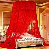 Moskitonetz Betthimmel Bett Vorhang Kuppel Prinzessin Einzel Doppel Für Königin König Bett Mädchen Jungen Indoor Outdoor Net, Rot-1,2 Meter Im Durchmesser