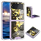 ZIYE for Samsung Galaxy Z flip 3 Case Gold Butterfly Pattern Hard PC Clear Bumper Full-Body Shockproof Protective Thin Slim Case Cover for Galaxy Flip 3 5G (2021)