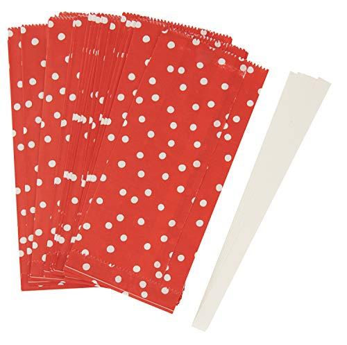 Papiertüten Sterne Set, Punkte, Rot