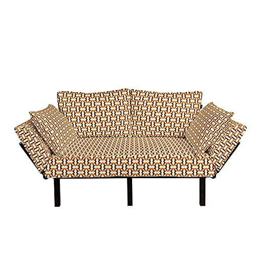 Ambesonne Geometric Futon Couch, Colorful Repeated Design of Wing Like Curved Stripes Retro Style Grid, Daybed with Metal Frame Upholstered Sofa for Living Dorm, Loveseat, Ivory Chocolate Ginger
